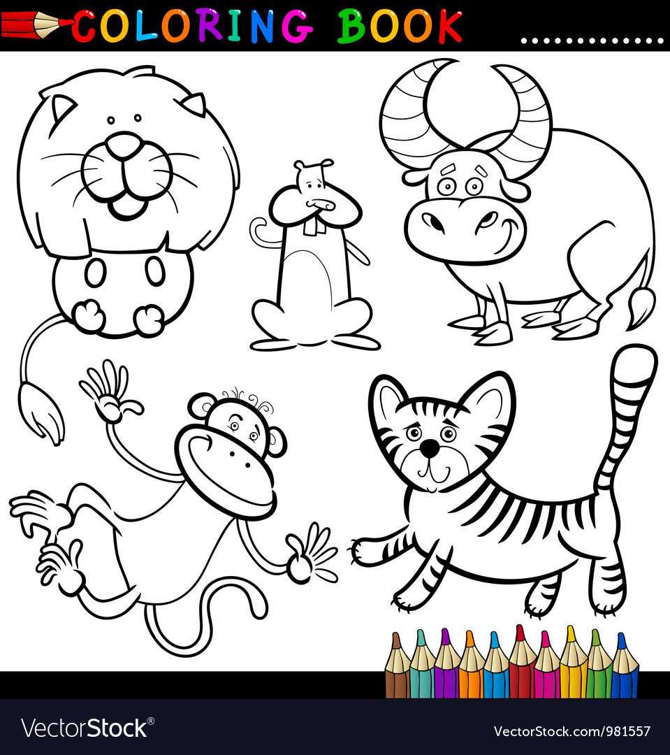 Animals for coloring book or page vector