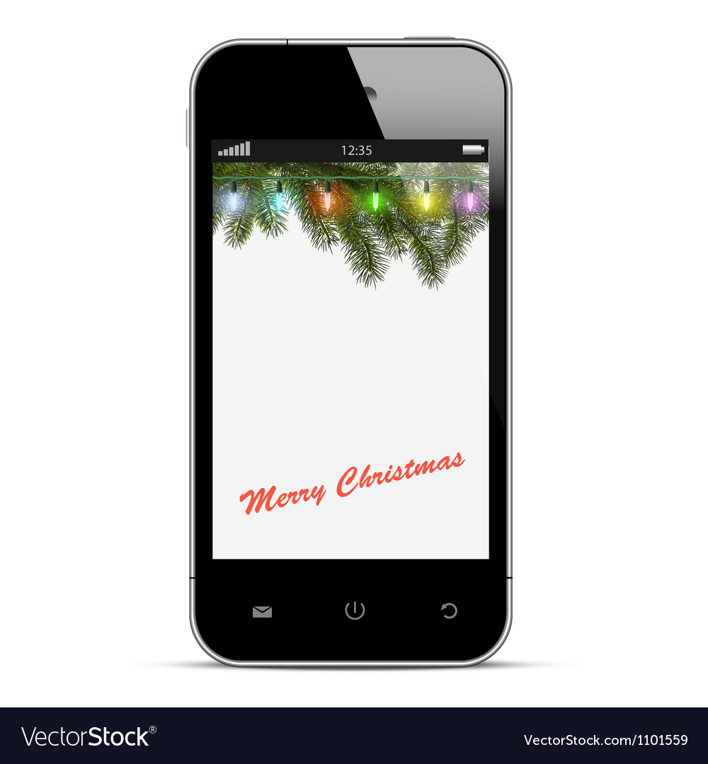 Christmas mobile phone vector