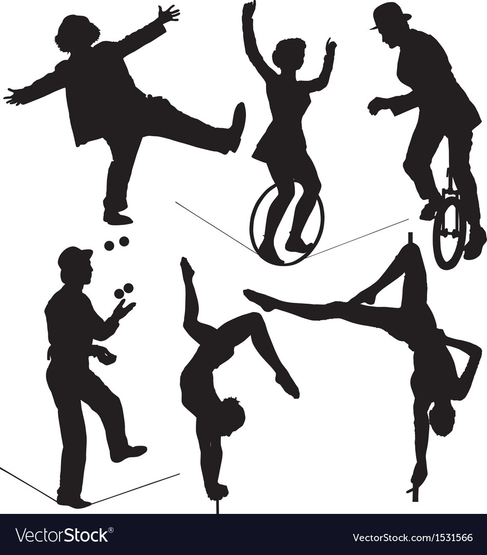 Circus artist silhouette vector
