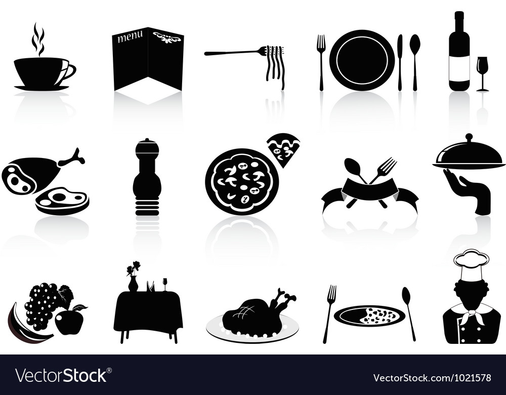 Black restaurant icons set vector