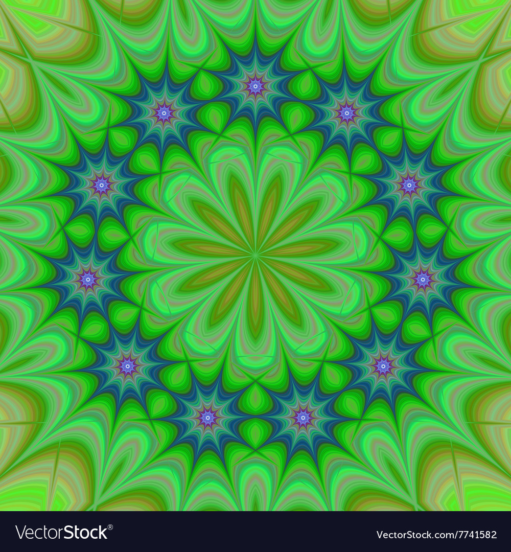 Green abstract floral kaleidoscope background