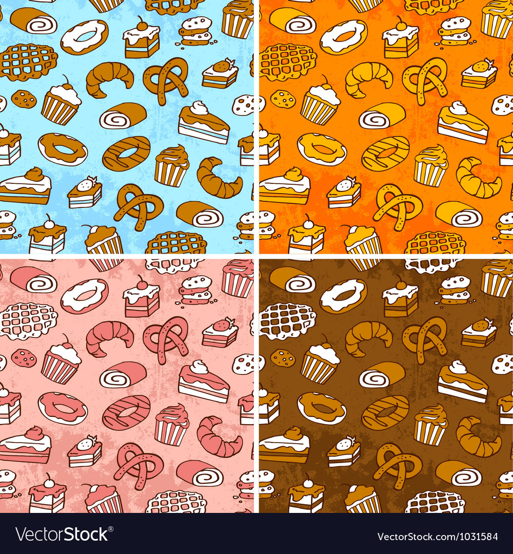 Pastries patterns vector