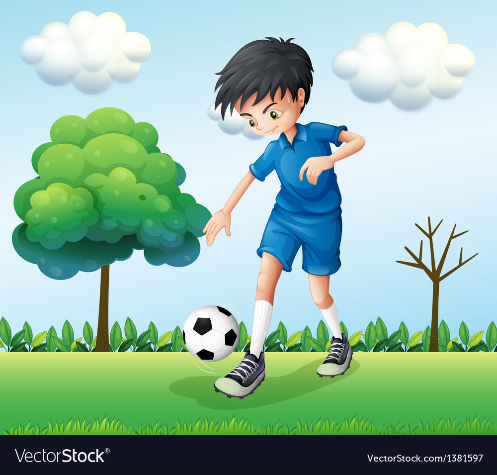 A football player wearing his blue uniform vector