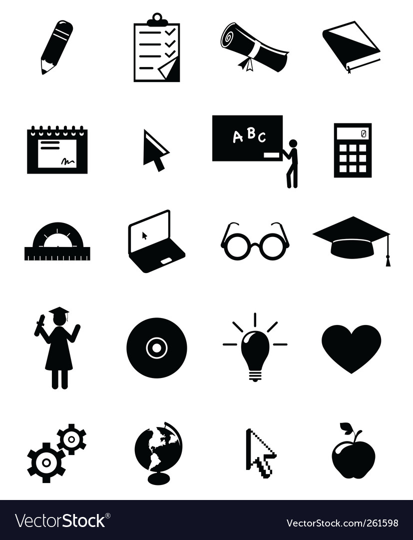 Education icons set vector