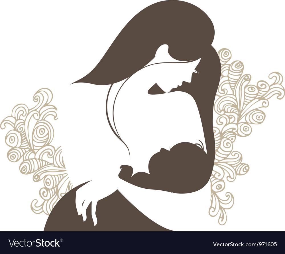 Beautiful mother silhouette with baby vector