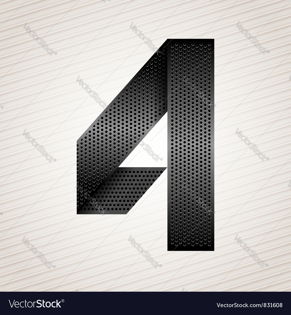 Number metal ribbon  4  four vector