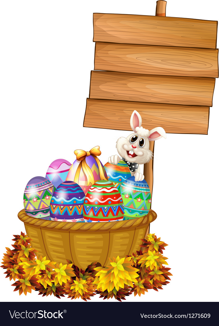 A bunny and a basket with eggs near a signage vector