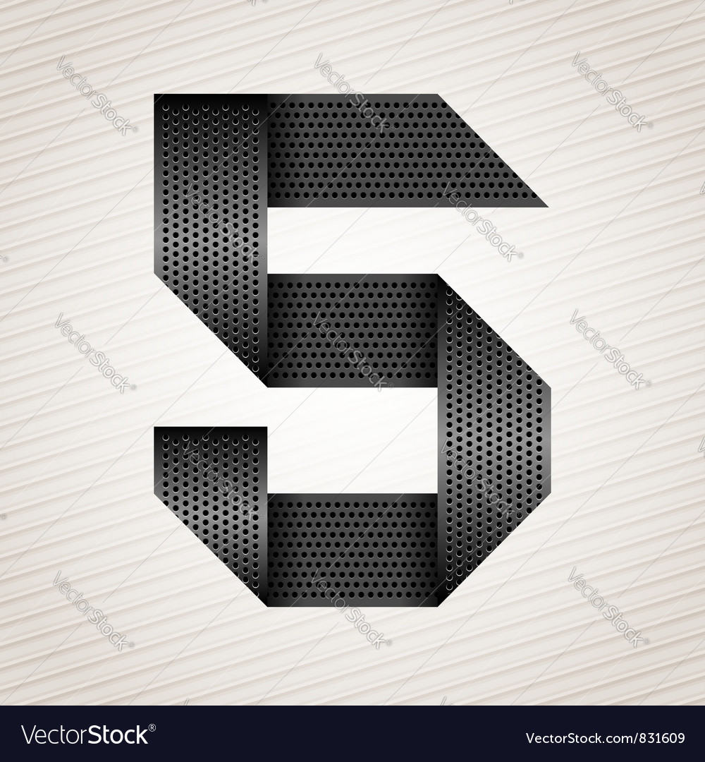 Number metal ribbon  5  five vector