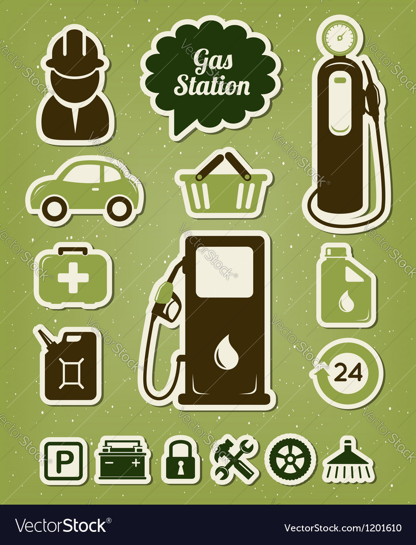Gas station icons set vector