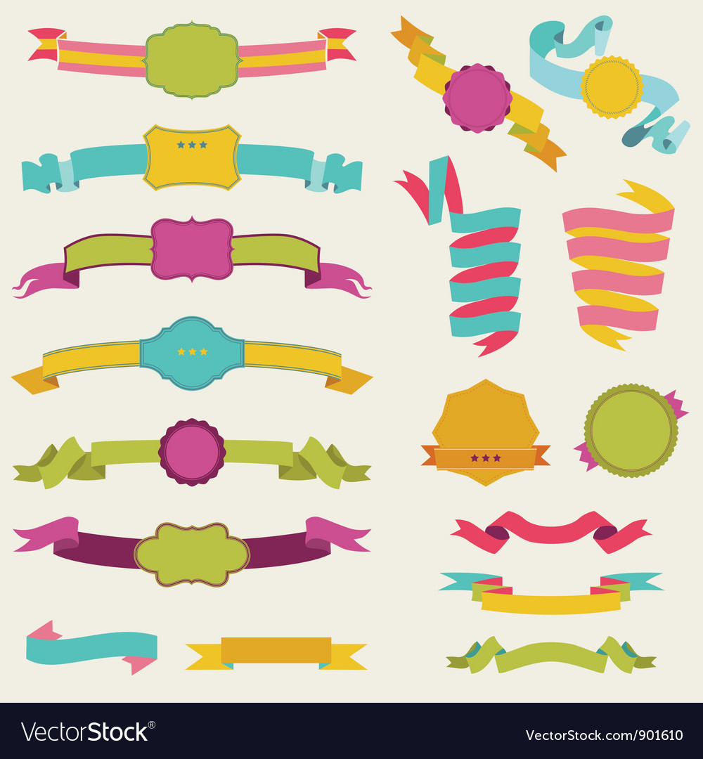 Set of colorful ribbons for your text vector