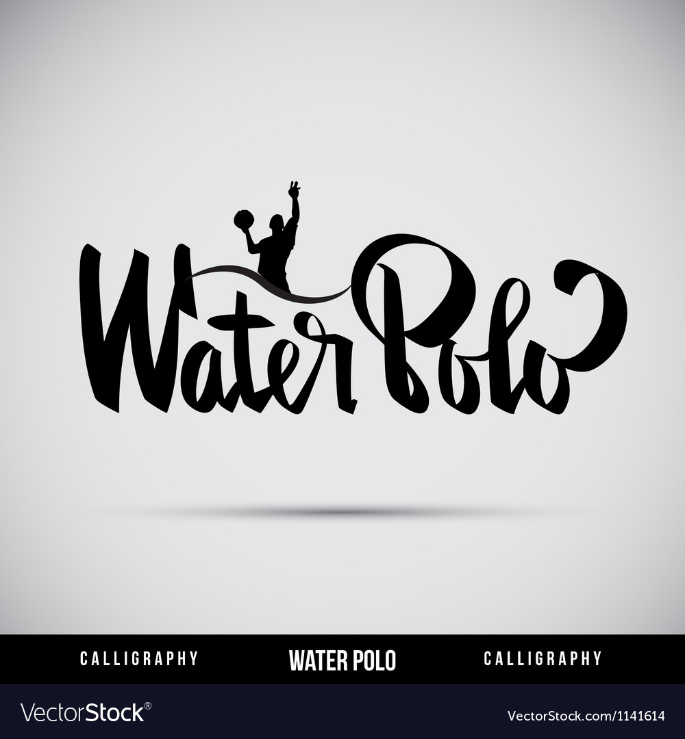 Water polo hand lettering  handmade calligraphy vector