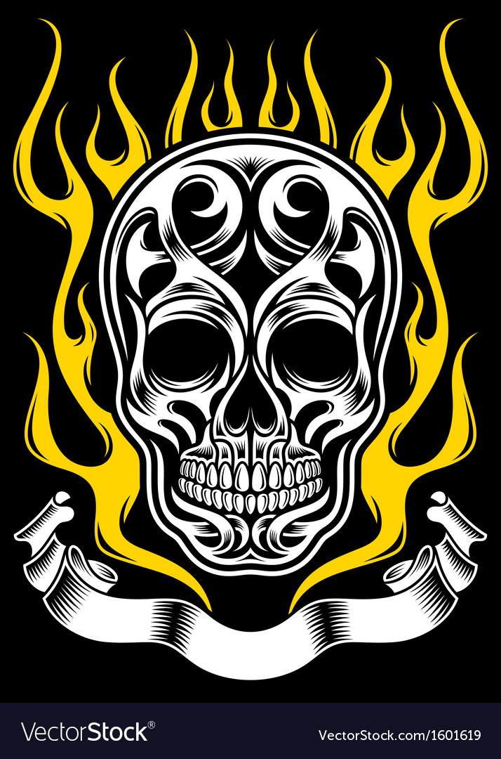 Ornate flame skull tattoo vector