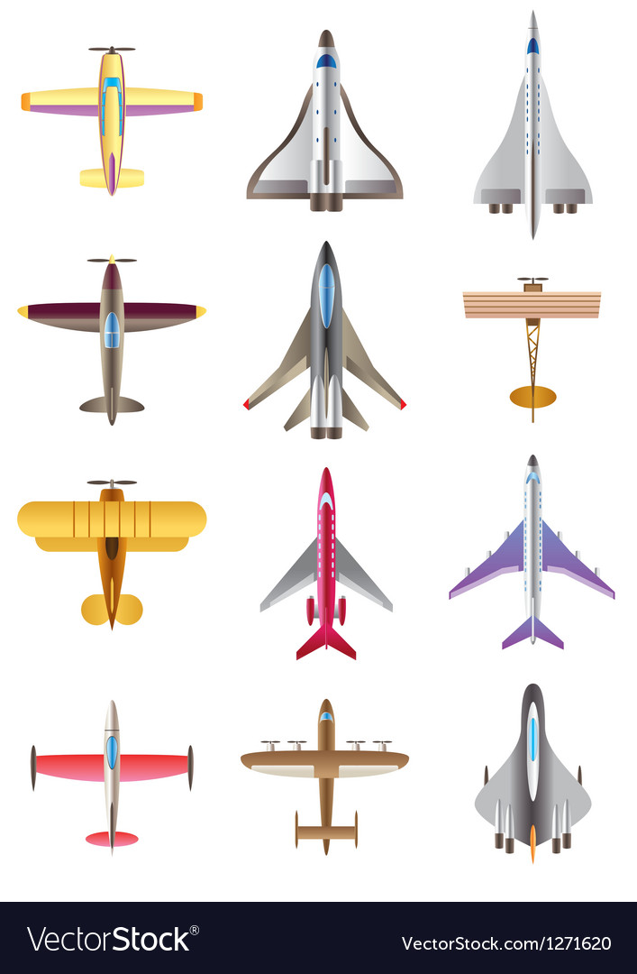 Different airplanes icons set vector