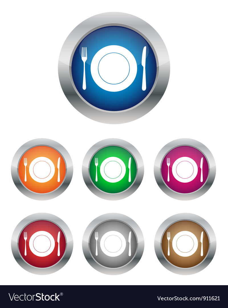 Restaurant buttons vector