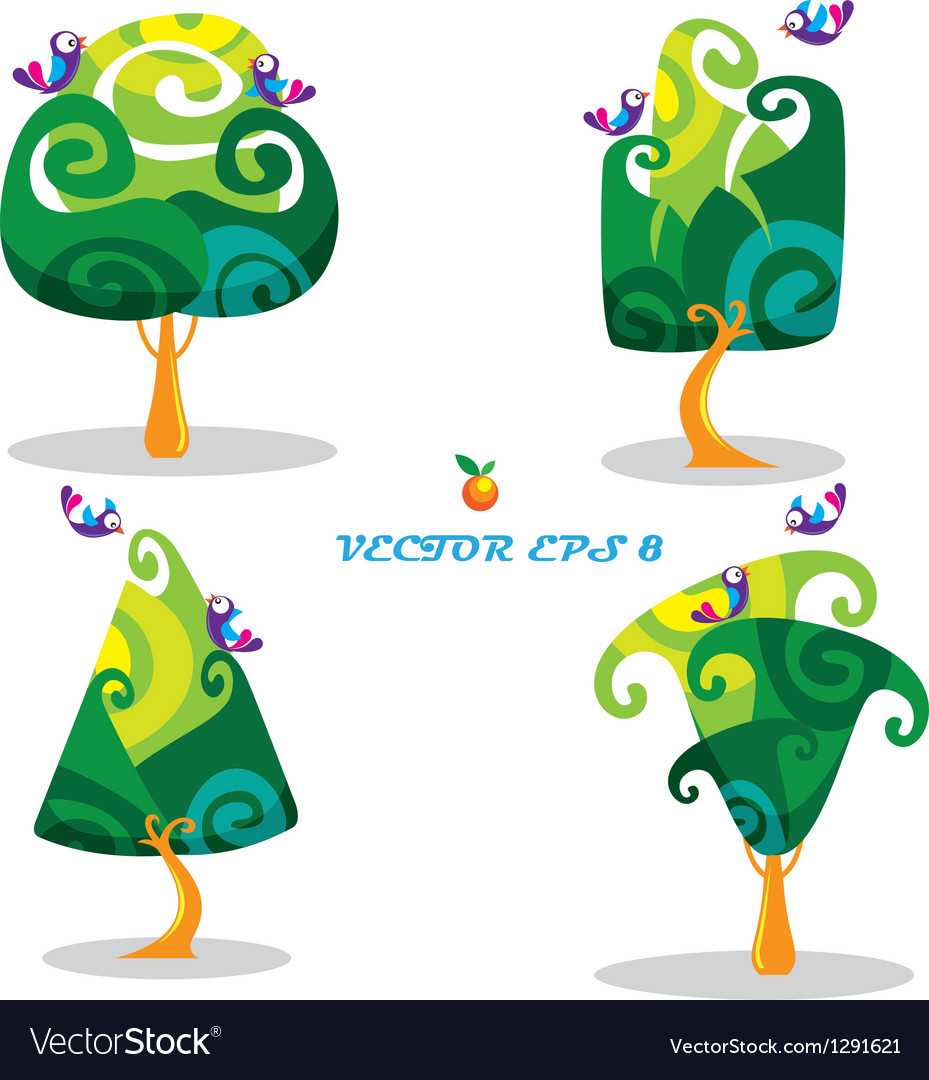 Set of trees with birds in cartoon style vector