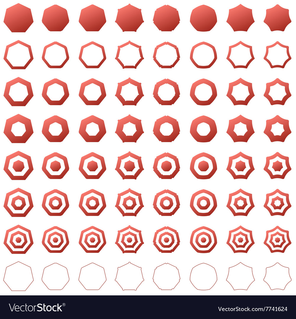 Common Worksheets shapes heptagon : Heptagon shape polygon icon template set free vector by Exclusive ...