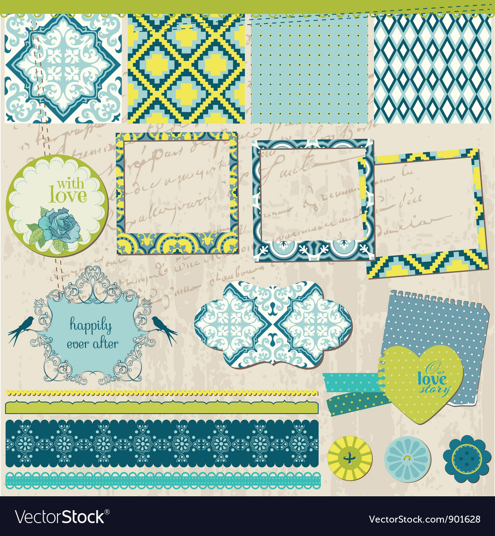 Scrapbook design elements  vintage tile with fram vector