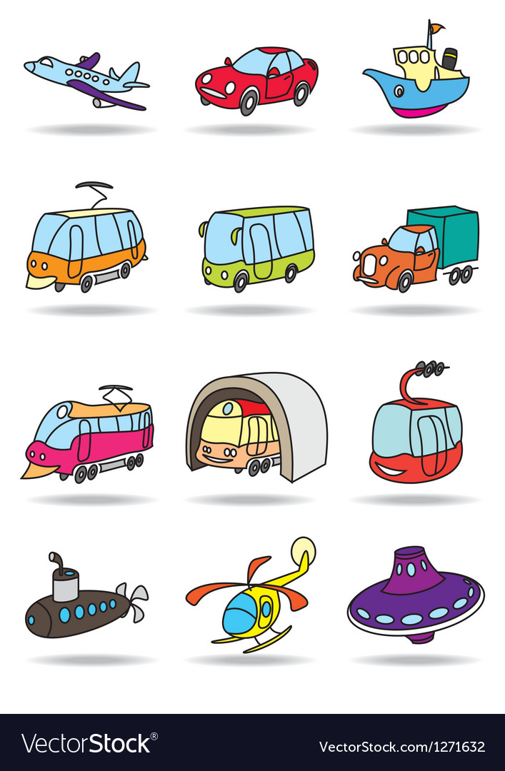 Transportations icon set vector