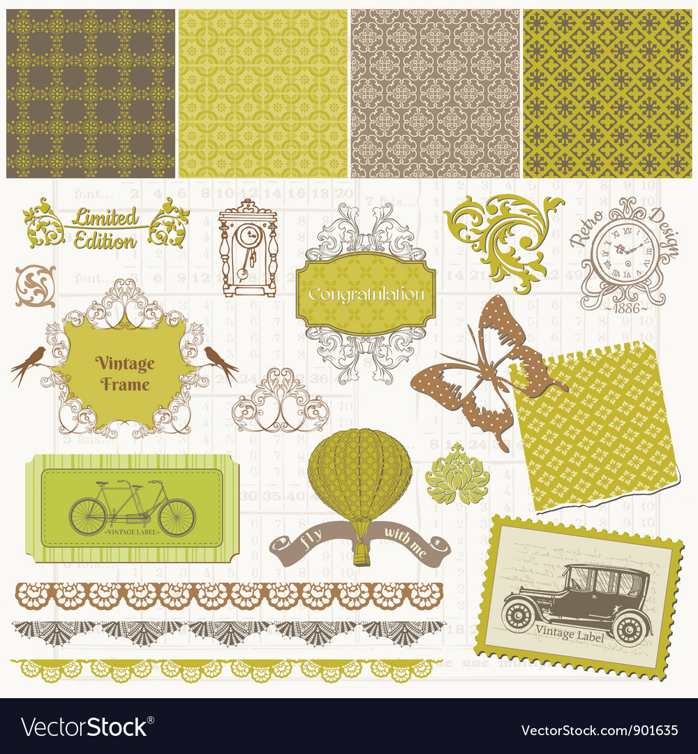 Scrapbook design elements  vintage time set vector