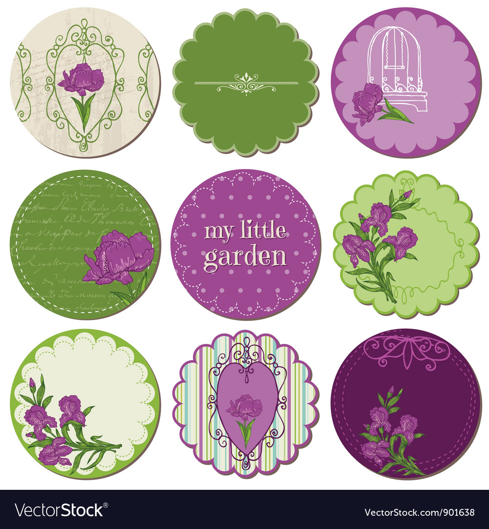Scrapbook design elements  tags with iris flowers vector