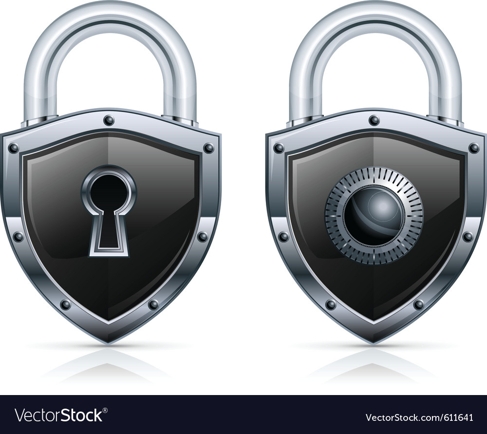 Black metal padlock vector