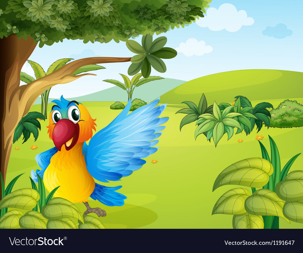 A colorful parrot in the forest vector