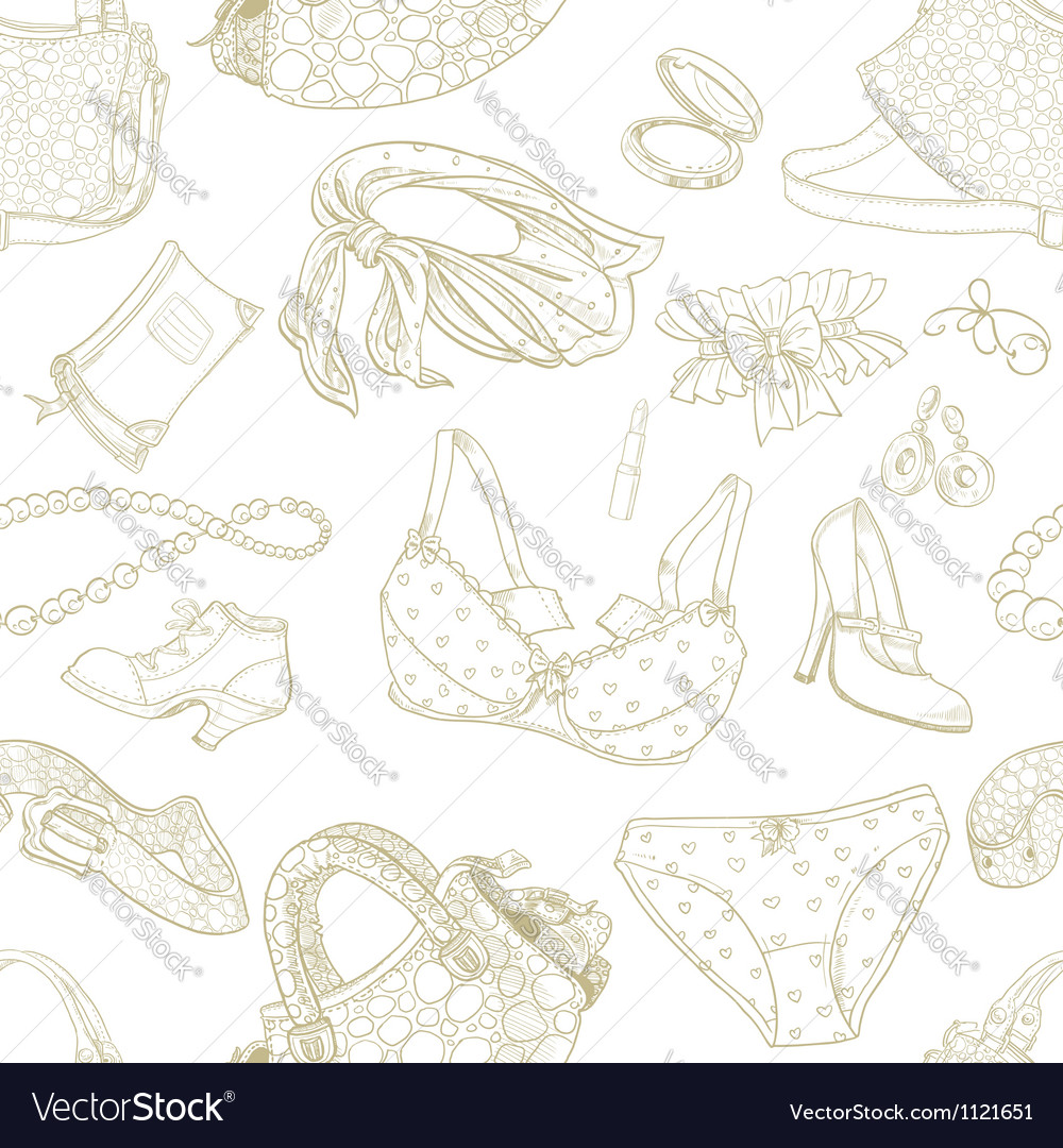 Seamless pattern of female subjects vector