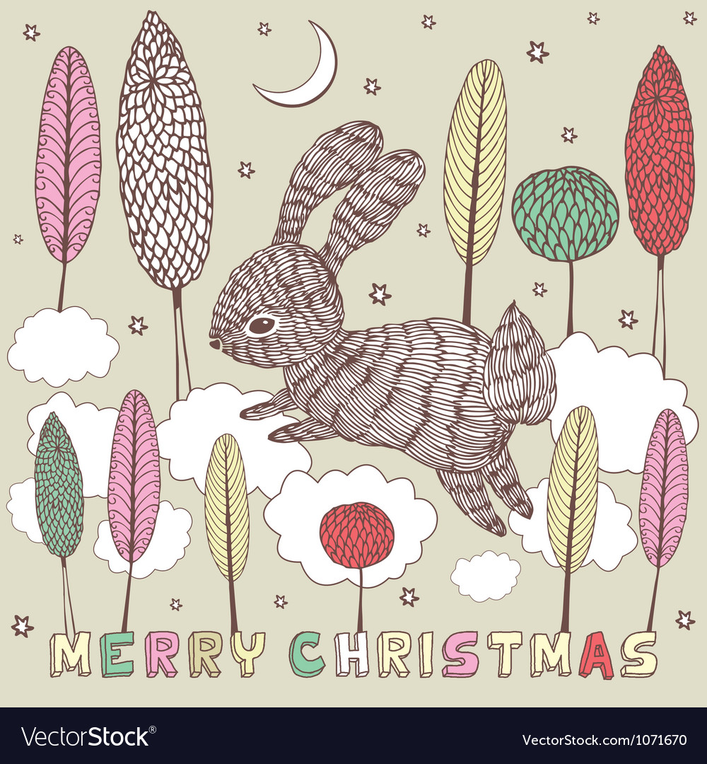 Christmas doodle rabbit card vector