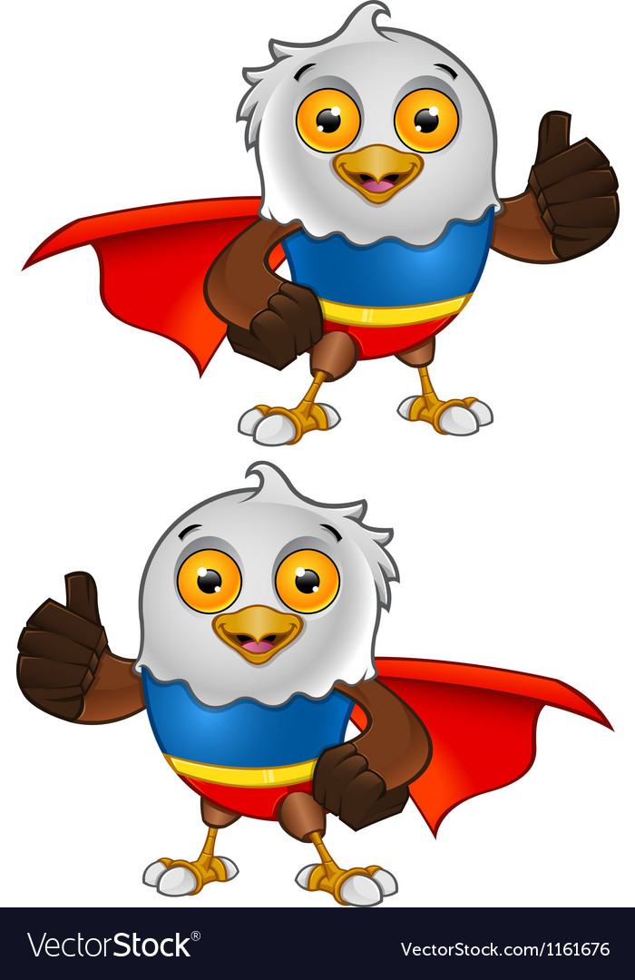 Super bald eagle character 2 vector