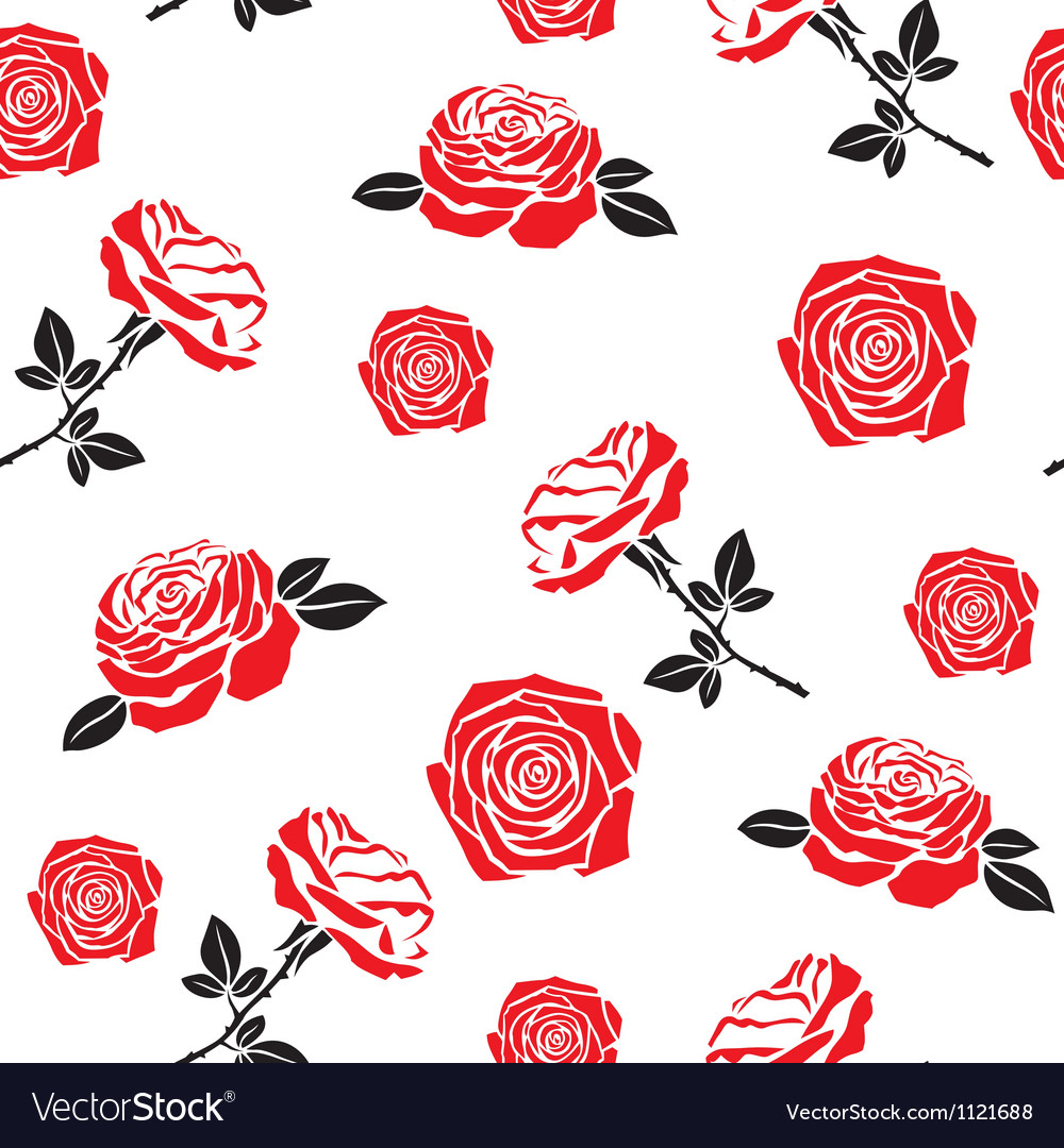Pattern of red flowers roses vector