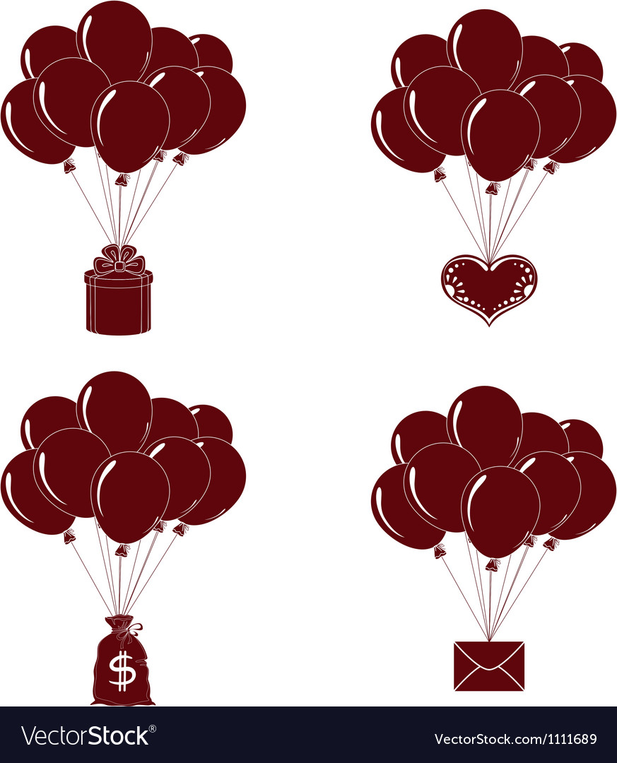 Balloons bunches silhouette set vector
