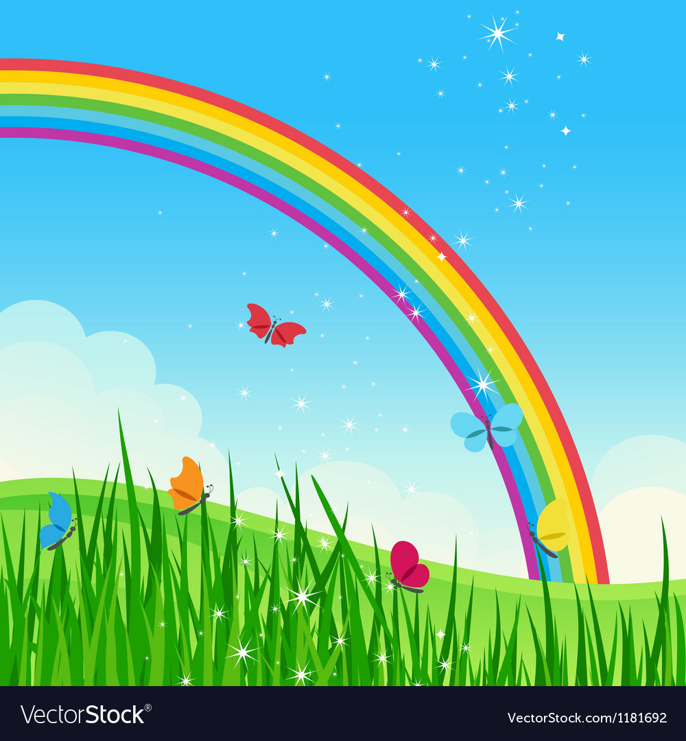 Shiny rainbow meadow landscape vector