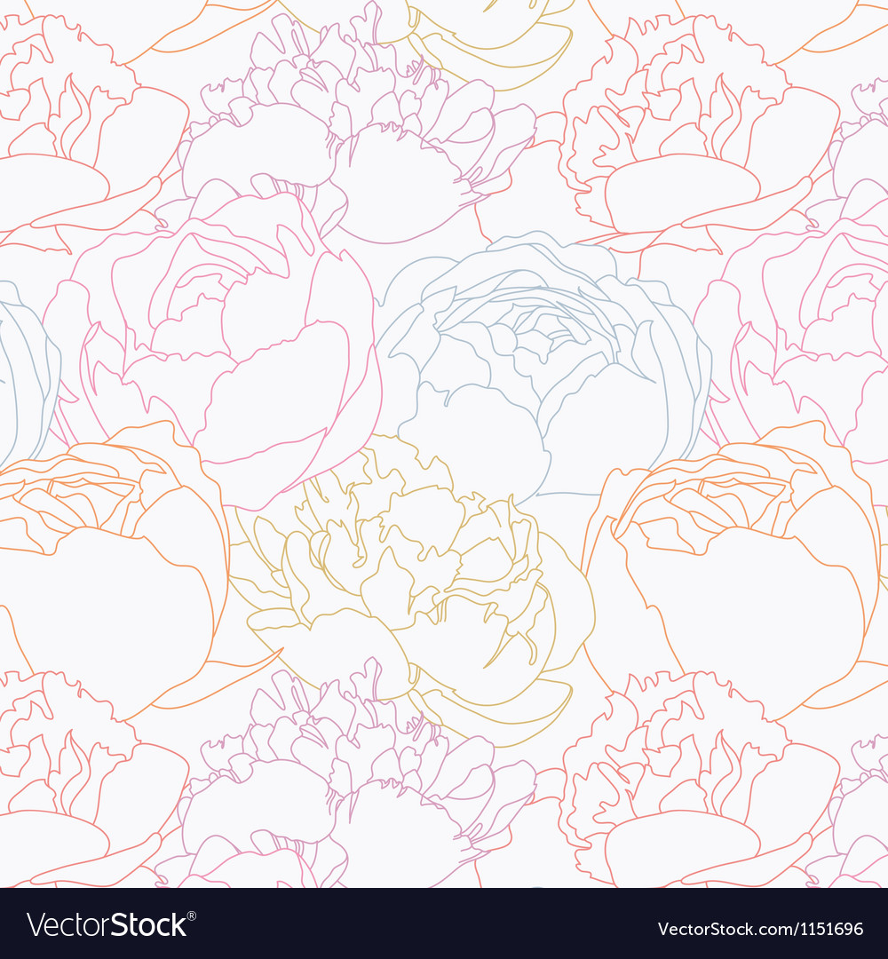 Peonies pattern vector