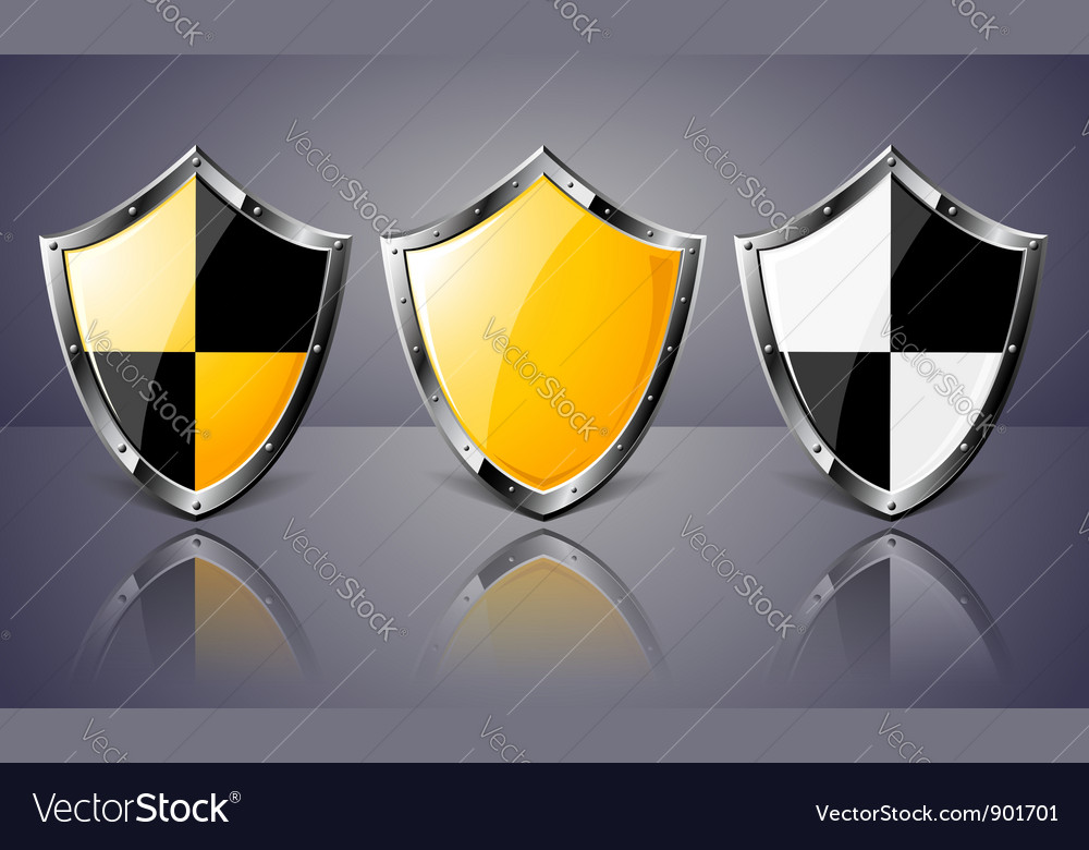 Set of steel shields over dark background vector