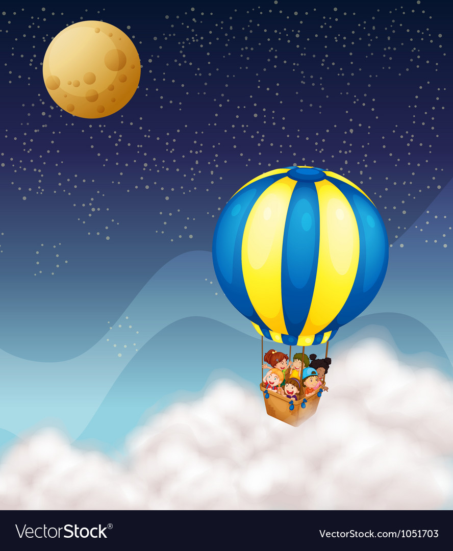 Kids in hot air balloon vector