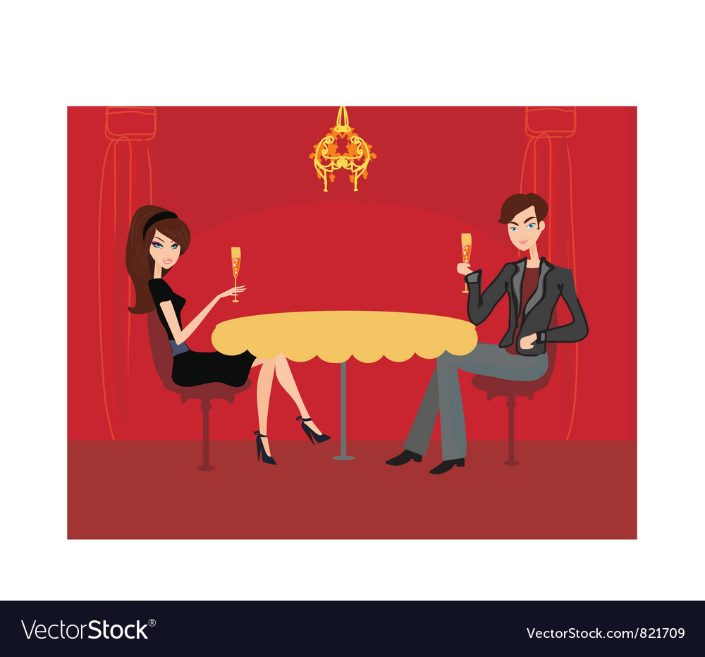 Free young couple flirt and drink champagne vector