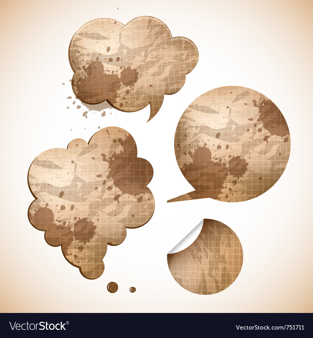 Grungy paper speak bubbles vector