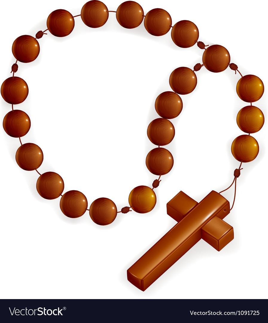 Rosary and cross vector
