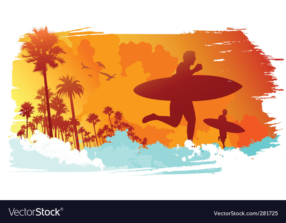 Tropical surfer vector