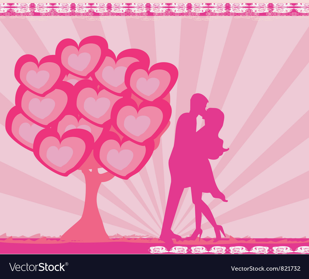 Free greeting card with silhouette of romantic couple vector
