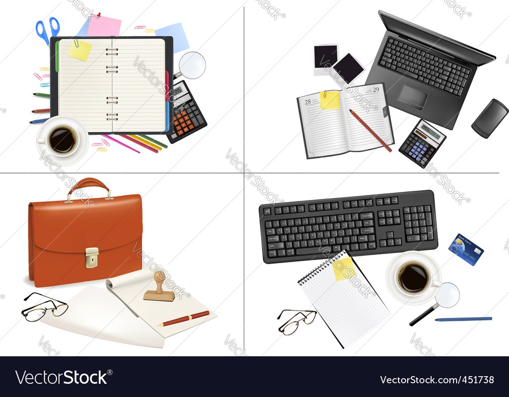 Big set of office backgrounds vector