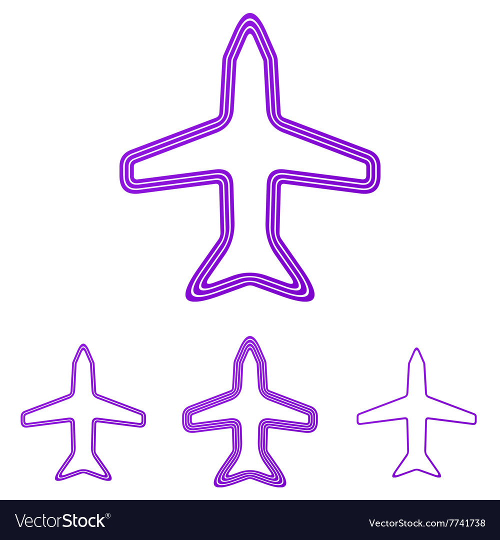 Purple line airplane logo design set