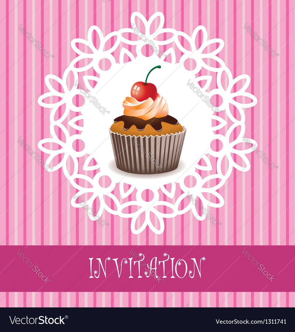 Invitation card with cupcake vector