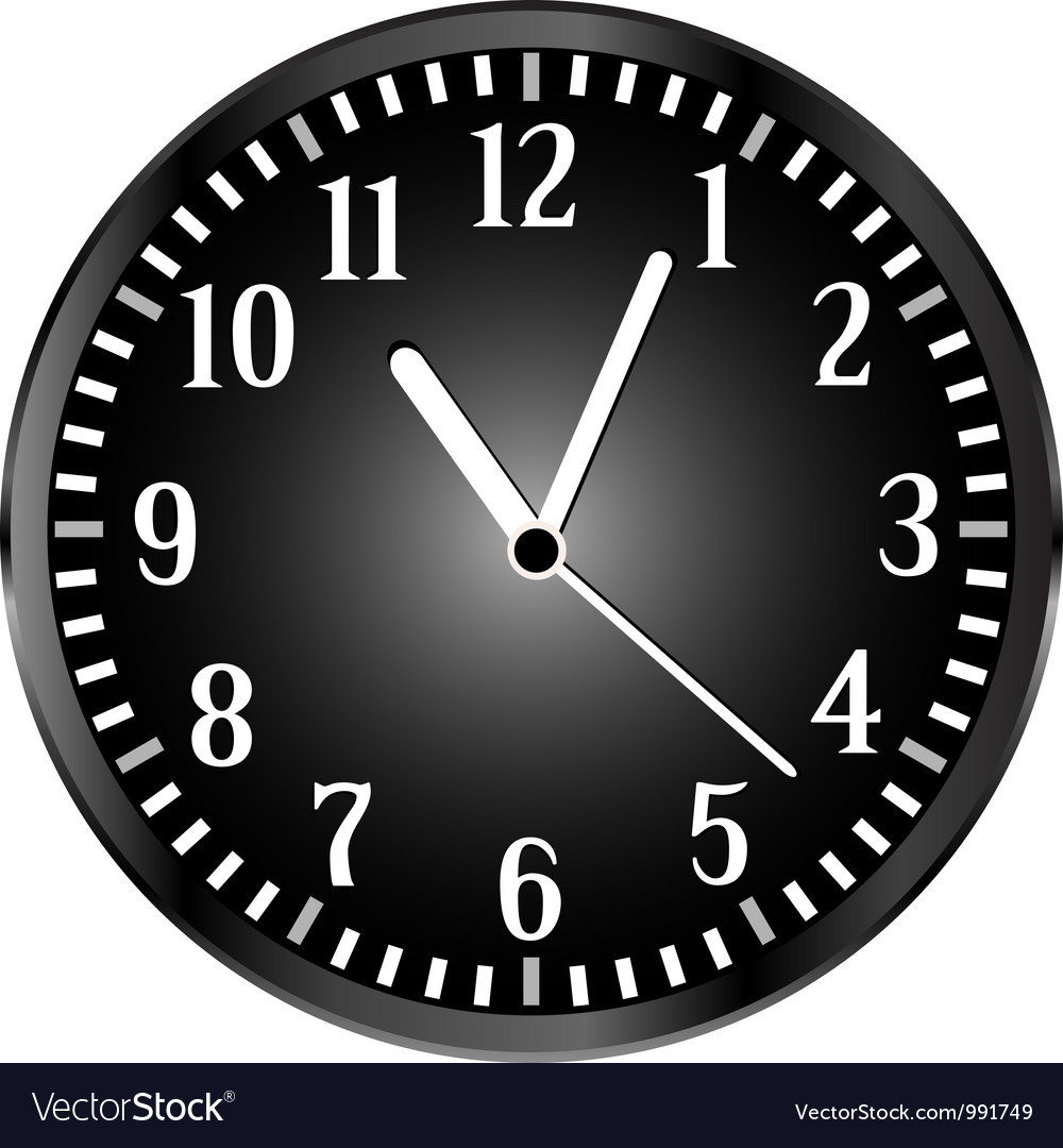 Silver wall clock with black face vector