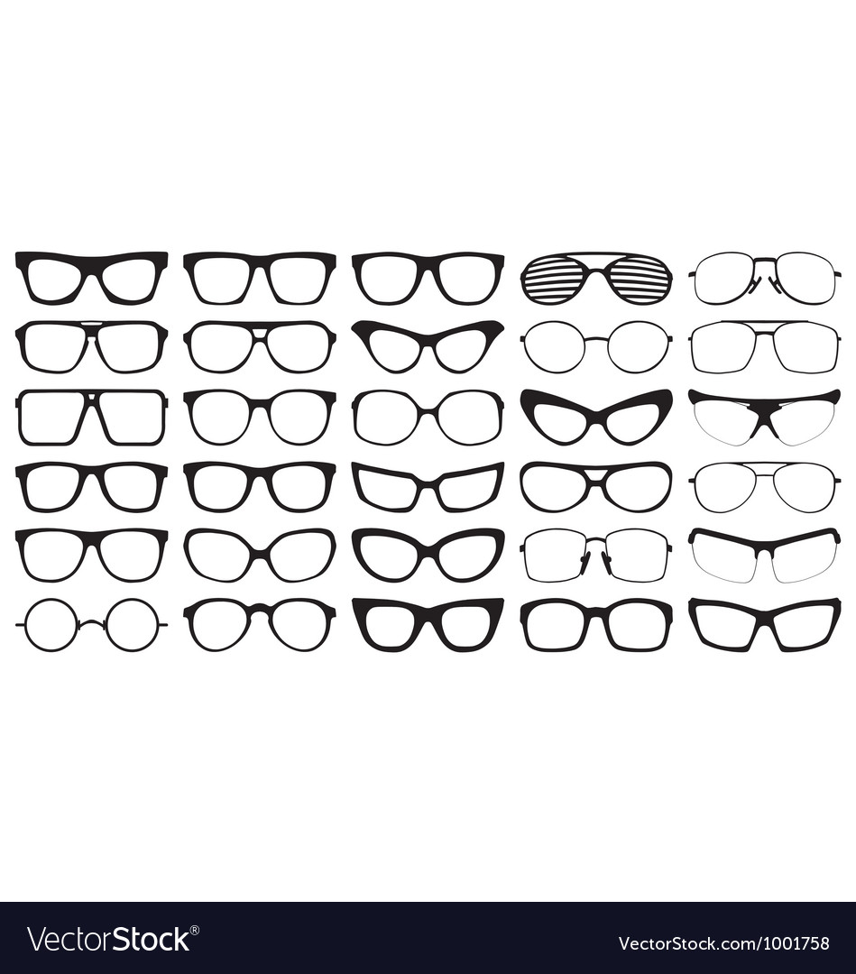 Eye glasses silhouettes vector