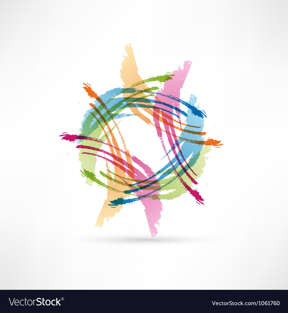 Color brush strokes abstract symbol vector