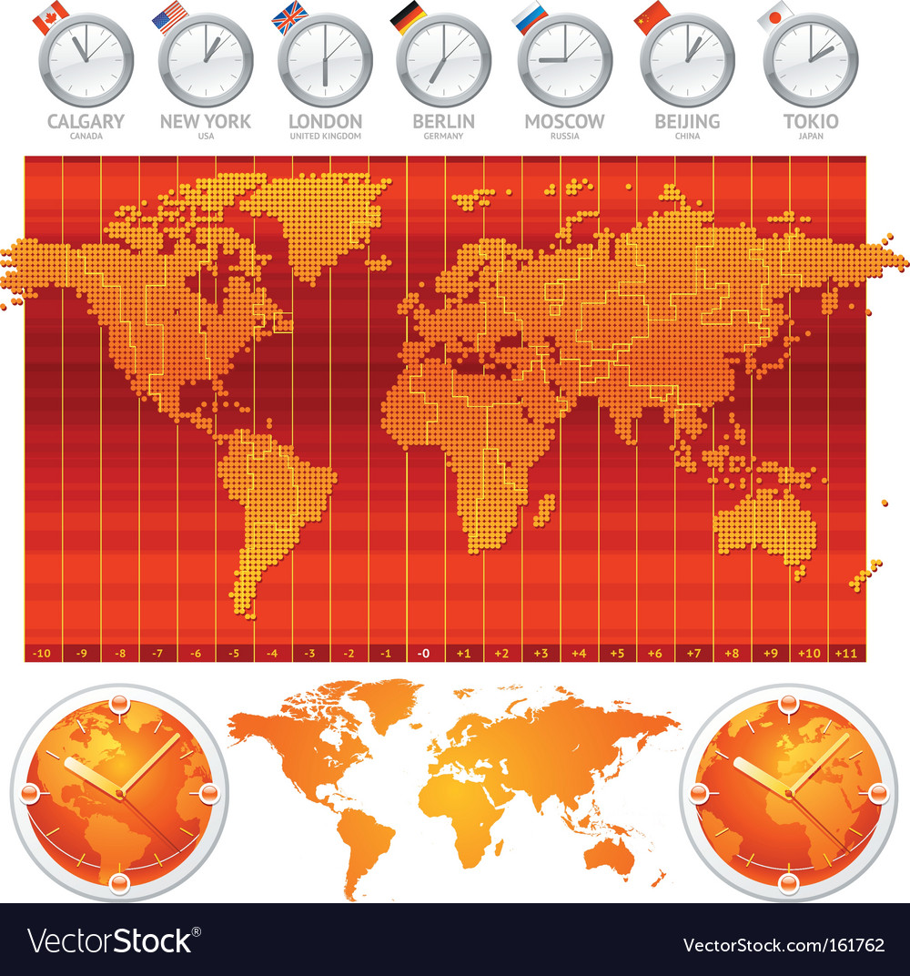 Time zones and clocks vector