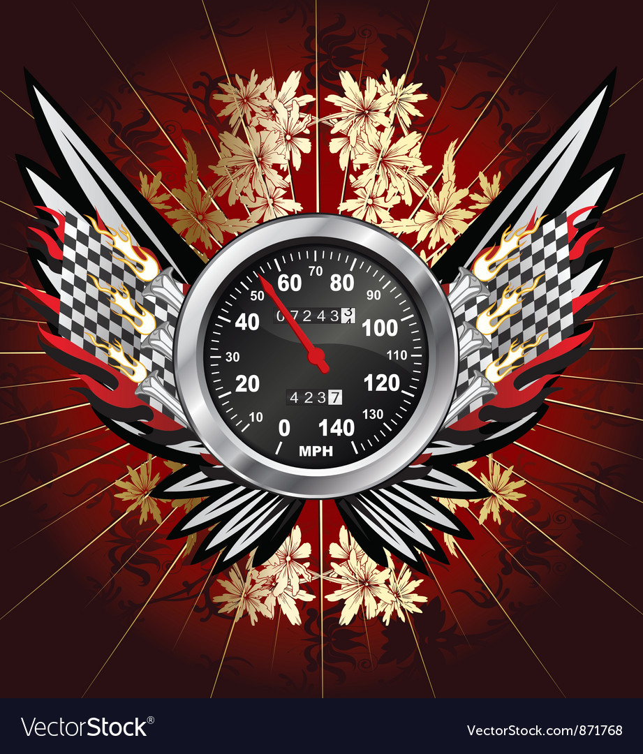 Free speedometer with floral vector
