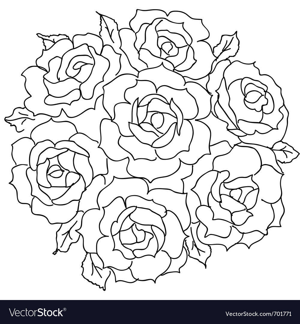 Large Bouquet Of Roses Vector By Aarrows Image 701771 VectorStock