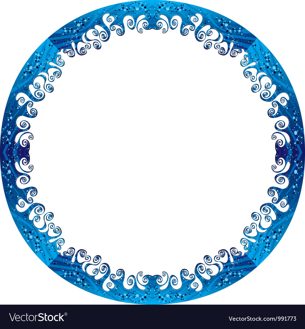 Round frame made of sea waves vector